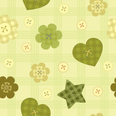 funny little buttons seamless pattern on checkered background Vector