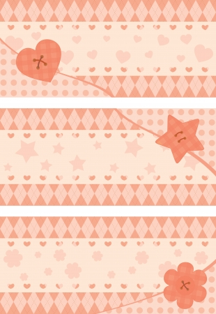 set of horizontal postcards with pink stylized button Vector