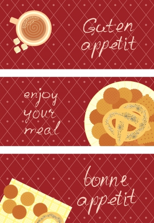 set of postcard with a breakfast Vector