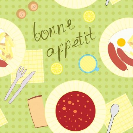 정오: 저녁 식사를 테마로 원활한 패턴 일러스트