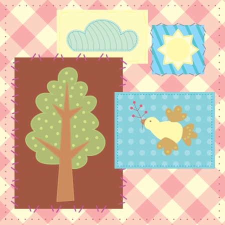 patchwork with tree, bird, cloud and sun Vector
