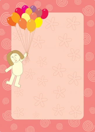 flying man: balloon flying man frame Illustration