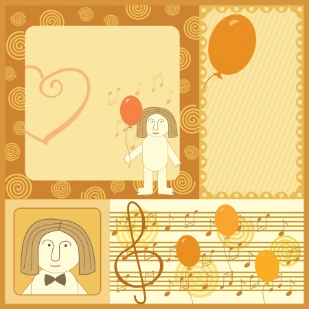 singing man greeting card Vector