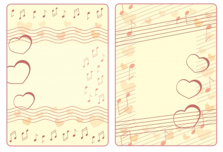 two Valentine frames with notes and hearts Vector