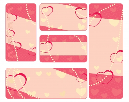 collection of valentine tags with pearls Vector