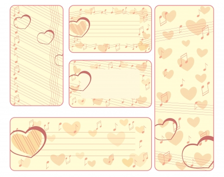 collection of valentine tags with notes Vector