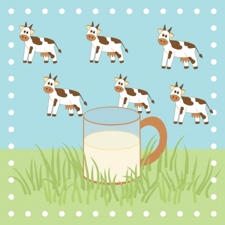 cow, grass and milk in the glass Vector