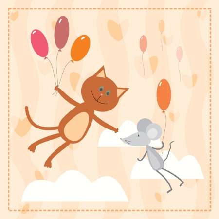 cat and mouse flying with balloons Vector