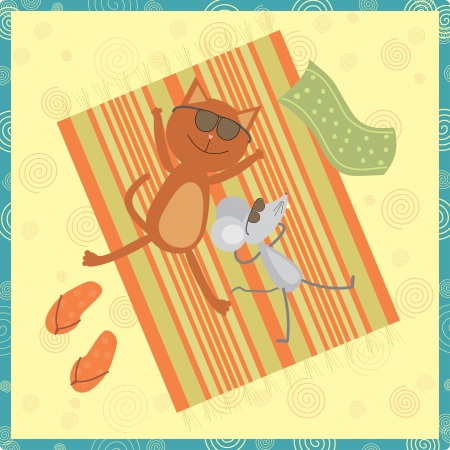 cat and mouse sunbathing on the beach Vector