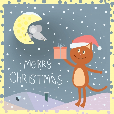 Christmas card with a cat on the roof and a mouse on the moon Vector