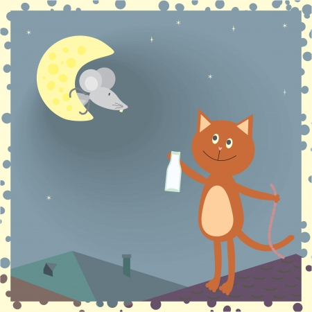 a cat on the roof and a mouse on the moon Stock Vector - 14083527