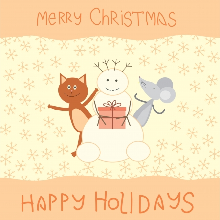 Christmas card with a cat, mouse and snowman Vector