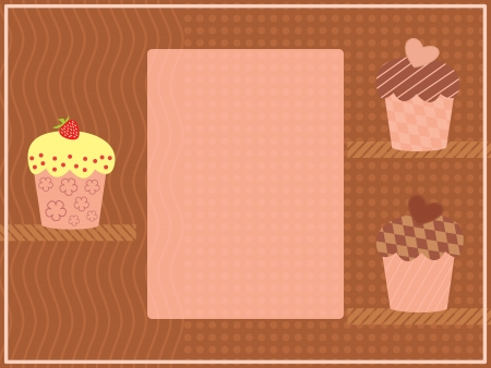 three cupcakes on a shelf Vector