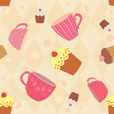 seamless pattern with decorated cups and cakes Illustration