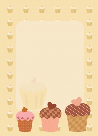 frame with three cupcakes Vector