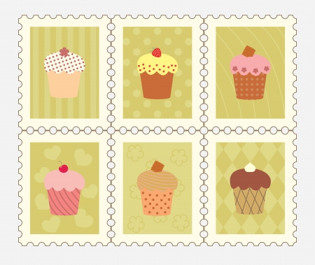 postage stamps with decorated cupcakes Vector