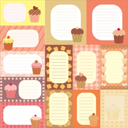 Collection of tags for scrapboooking with decorated cakes Vector