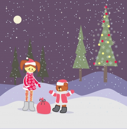 background with christmas little girl and santa claus bear Vector