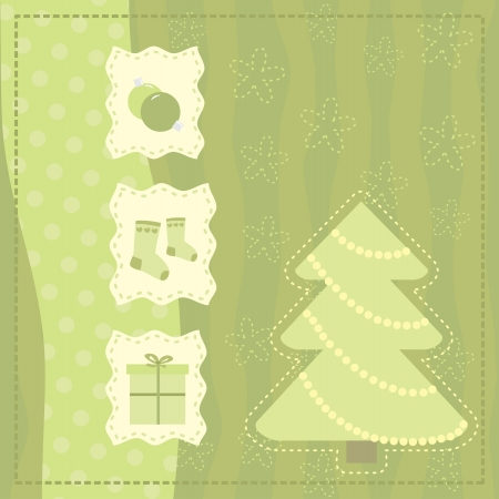 silvester: Christmas greeting  card with symbols of a Christmas