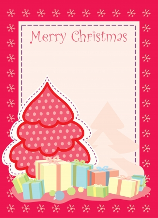 christmas greeting card with stylized christmas tree Vector