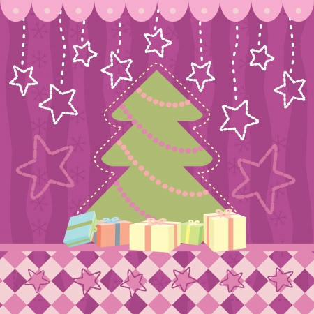 Christmas greeting card with stars Vector