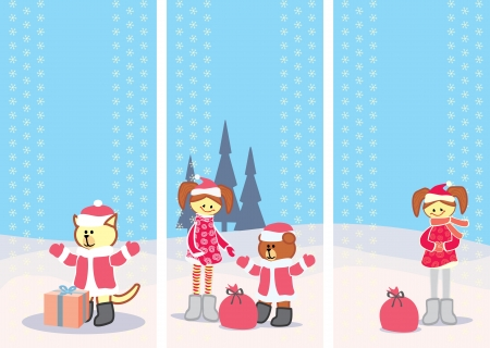 set of Christmas cards with little girl vertical format Vector