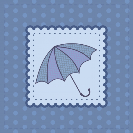 greeting card with dotted umbrella Vector
