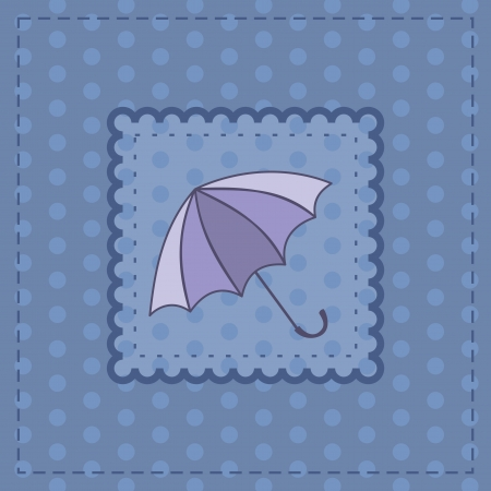 greeting card with violet umbrella Vector