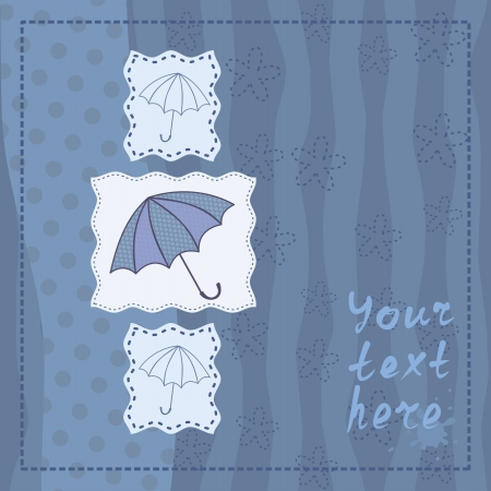 greeting card with three umbrellas Vector