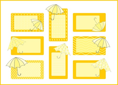 umbrellas tag collection Vector