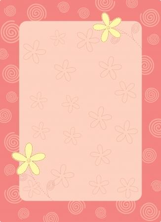 pink flower frame Vector