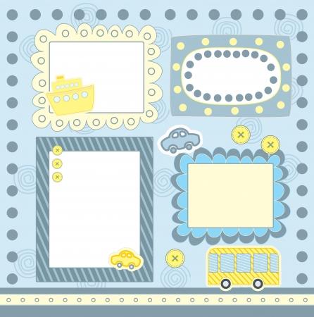 school baby: four blue scrapbooking frames