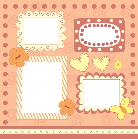 four pink scrapbooking frames Vector