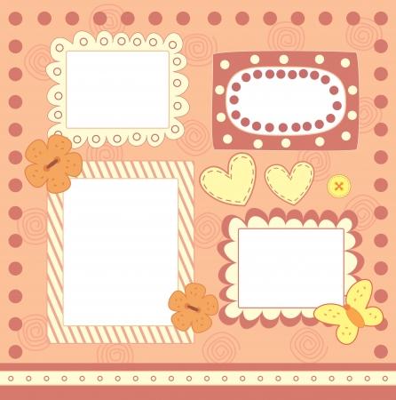 four pink scrapbooking frames Illustration