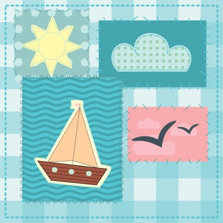 greeting card in patchwork style Vector
