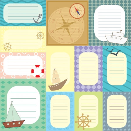 scrapbooking voyage: collection de tags pour album Illustration