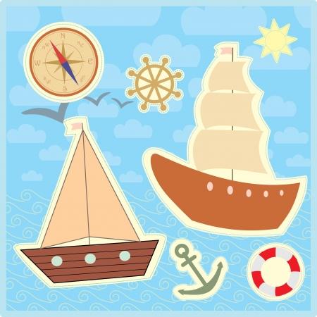 marinero: colecci�n de pegatinas marinos para ni�os