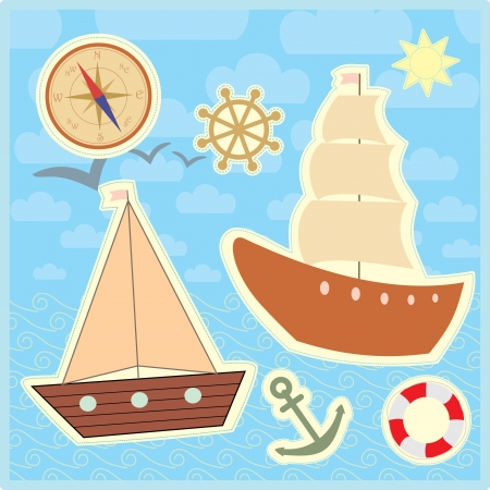 collection of marine stickers for kids Vector