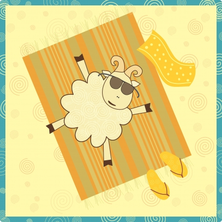 sunbathing sheep Vector