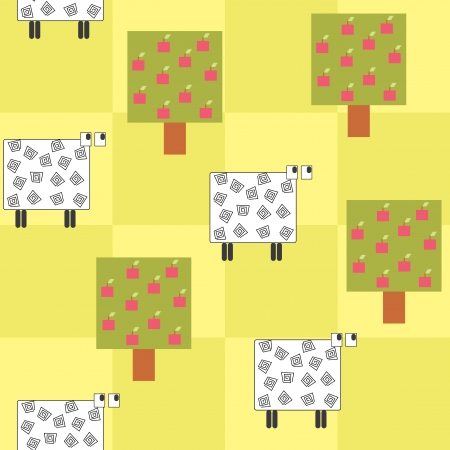 seamless pattern with a sheep under the tree Stock Vector - 14083542