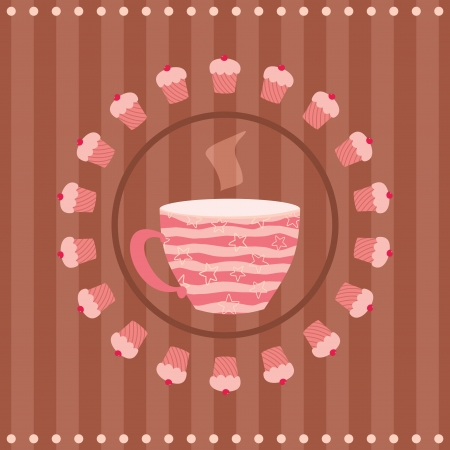 greeting card with a cup of tea and a cupcakes Vector