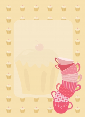 frame with teacup and cupcakes Vector