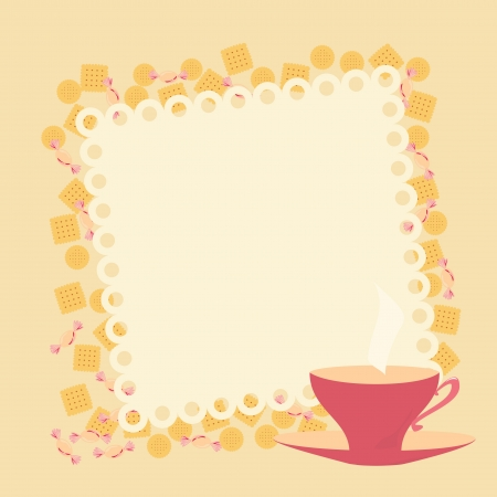 frame with teacup and cookies Vector
