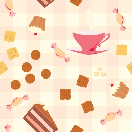 seamless pattern with tea, cake, candies  and cookies on checkered tablecloth Vector