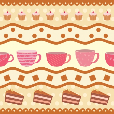 greeting card with a collection of teacups Vector
