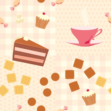 seamless pattern with a cup of tea, cake, candies  and cookies Vector