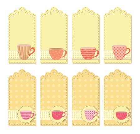 table set: teacups tags collection Illustration