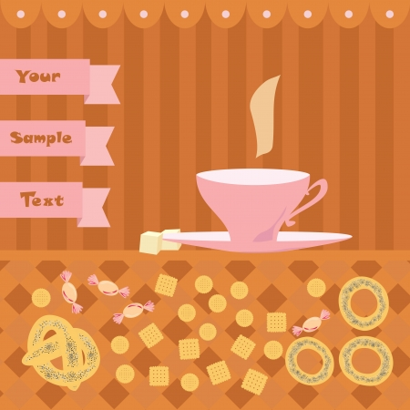 background with a cup of tea Vector