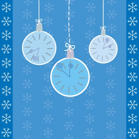 turns of the year: hanging watches on blue background with snowflakes Illustration