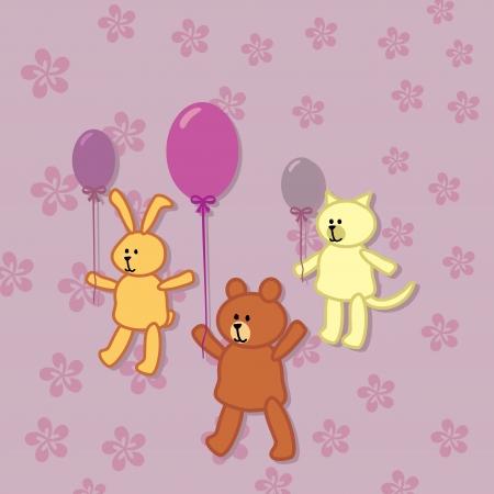 rabbit, bear and kitty walks with balloons Vector